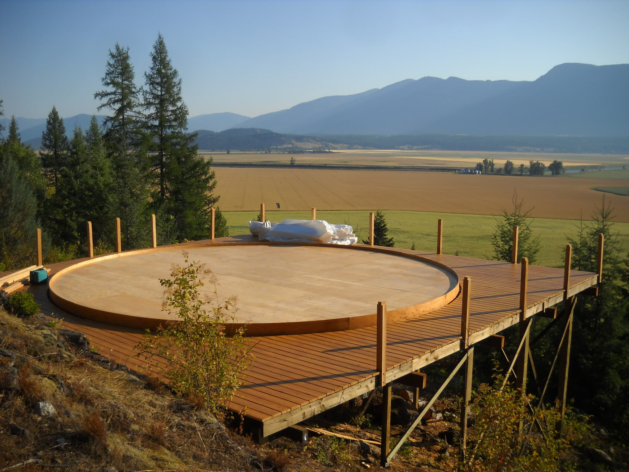 elevated yurt platform in flathead valley